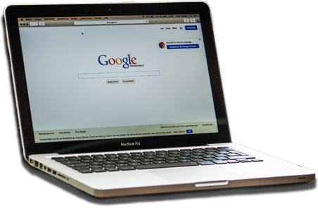 laptop with google search optimization